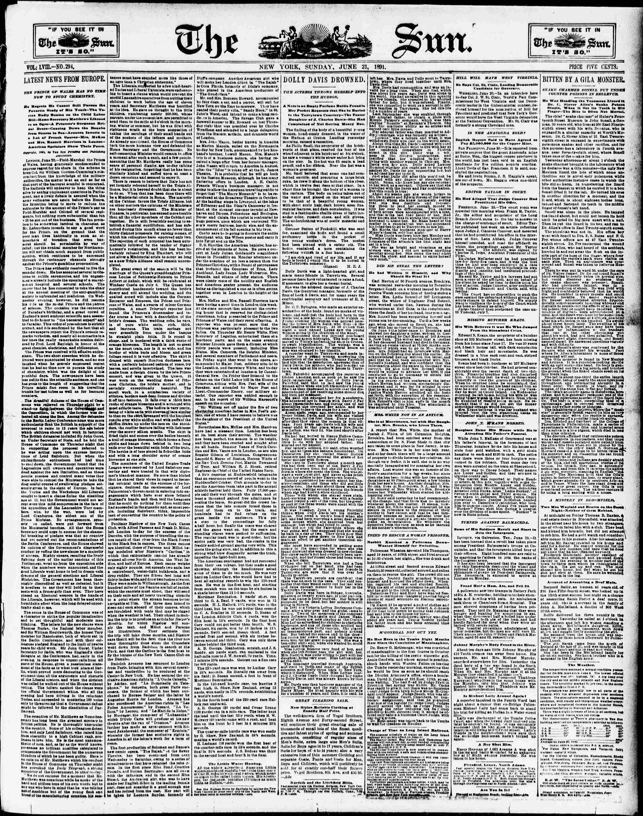 The sun  (New York [N Y ]) 1833-1916, June 21, 1891, Page 1